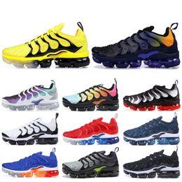 correndo homem jogo Desconto Nike Vapormax Plus TN Designer Men Women Sneakers Hyper Blue Sunset Game Royal Ultra White Black Best TN Trainers Sport Running Shoes 5-11