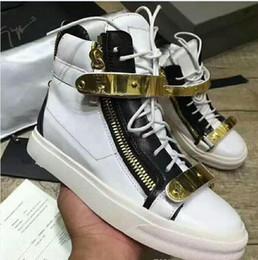 zapatillas altas de cremallera para hombre. Rebajas Zapatos de diseño de Italia Zapatos casuales planos de cuero genuino Cremallera dorada Runner Runing Hombres y mujeres Zapatillas de deporte de alta ayuda Zapatillas de deporte de gran tamaño 35-47