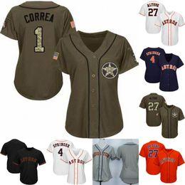 Beisebol feminino on-line-Juventude das mulheres Houston Jersey 2 Alex Bregman 1 Carlos Correa 4 George Springer 27 José Altuve 35 Justin Verlander Astros Camisolas de Beisebol