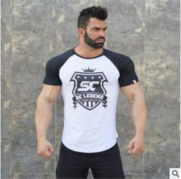 Camiseta para hombre imprimiendo nuevos diseños online-Nuevo diseño Muscle Guys Fitness Camisetas Bodybuilding Fitness Cartas Gimnasios impresos ropa de algodón para hombre de manga corta camiseta entrenamiento Tees