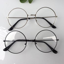 Große rahmenbrillen online-2018 neue mann frau retro große runde brille transparent metall brillengestell schwarz silber gold brille brillen 4 farben