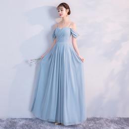 Cremallera nupcial perla online-Pearl Chiffon Nuevo verano Azul Gris Simple Cremallera Fiesta nupcial prom nupcial Vestido de dama de honor Vestido de hermana vestidos de festa