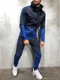 Sudadera con capucha online-Moda para hombre Primavera Hiphop Chándales Diseñador Cardigan Sudaderas con capucha Pantalones 2pcs Conjuntos de ropa Pantalones Trajes