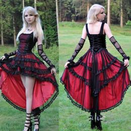Mädchen robe größe 12 online-Gothic Vintage-Abendkleider Mädchen Hallo Lo Spaghetti Rot-Schwarz-Spitze A-Linie Sexy Party Wear Plus Size Roben de soirée