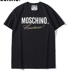 2019 New Tee schwarz mosc baumwolle brief drucken Goldfaden stickerei kurzarm Oansatz T-shirt männer und frauen t-shirt tragen casual tee S-XXL von Fabrikanten