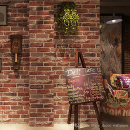 Деревенский Винтаж 3D искусственный кирпич обои рулон винил ПВХ ретро промышленный лофт обои красный черный серый желтый моющийся домашний декор cheap faux brick walls от Поставщики искусственные кирпичные стены