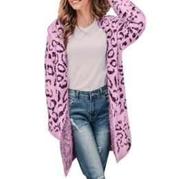 e98ec9aec7 2018 Winter Leopard Print Women Loose Cardigan Sweater Casual Knitted Long  Coat Sweater Cardigan Female Leopard Jackets 85jk