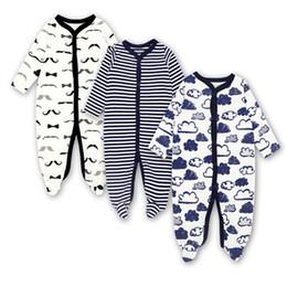 2019 monos para dormir ropa de bebé recién nacido del niño infantil del mameluco con la manga larga de juego mono del sueño 3 6 9 12 meses del bebé del algodón muchachas del muchacho de la ropa monos para dormir baratos