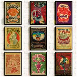pinturas grandes arboles Rebajas carteles música rock Grateful Dead retro papel de pared de papel kraft de alta calidad de pintura para la decoración del hogar pegatinas
