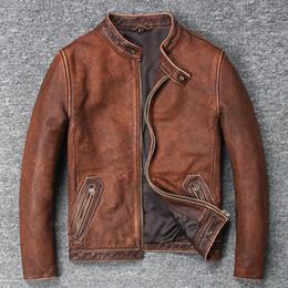 коричневая подставка Скидка 2018 Мужская винтаж корова кожаная куртка стенд воротник мыть сделать старые кожаные пальто мужчины коричневый цвет простой стиль байкер куртка для мужчин