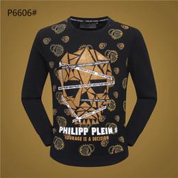 Ropa sencilla online-Suéteres de diseño de manga larga para hombre, marca de moda impresa Phillip Plain, otoño, primavera, ropa de lujo, carta, bordado, jersey, abrigo informal