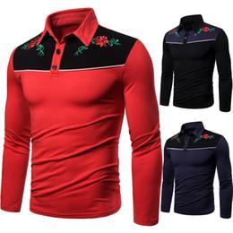 Longs bestickte polo online-Herbst-Winter-Langarm-T-Shirt Gestickte Blumen Herren Polo Shirts Marken zufälliges Polo 2019 für Männer S-2XL AOWOFS Marke J1906146