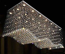 2019 plafonnier cristal rectangle Lustre en cristal contemporain de rectangle allumant le plafonnier affleurant de gouttes de pluie pour la salle à manger le hall de cuisine plafonnier cristal rectangle pas cher