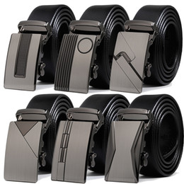 mens leather belts wholesale Coupons - Designer Belts Male Leather Strap with Metal Automatic Buckle Luxury Mens Black Belt 125CM