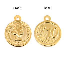 2020 монеты брелоки оптом 100% из нержавеющей стали монеты кулон женщины Элизабет круглый золото серебро подвески для ожерелье оптом 10 шт скидка монеты брелоки оптом