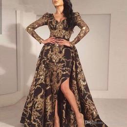 Glitzer meerjungfrau abendkleid online-Luxus-Schwarz-Gold Glitter Mermaid lange Ärmel Abendkleid 2019 Saudi-Arabien Dubai Marokkanische Removable Zug Muslim Abendkleid