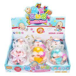boneca de bebês bonitos Desconto 6 pçs / caixa mini baby dolls toys bonito little baby doll bola meninas banho de chuveiro brinquedo fingir jogar para crianças presentes de aniversário para crianças