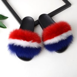 green red hair Coupons - Bravalucia Women's Furry Slides Ladies Cute Plush Fox Fur Hair Fluffy Slipper Women's Fur Slippers Winter Warm Sandals for Women