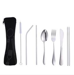 Set tenedor cuchara almuerzo online-Juego de cubiertos de vajilla de almuerzo portátil 7 piezas 1 juego de acero inoxidable cuchara tenedor viaje vajilla exterior conjunto de vajilla con bolsa LJJK1625