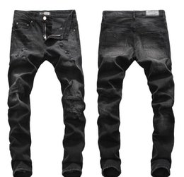 Tops Mens Ripped Black Jeans desenhador de moda Slim Fit cintura baixa motociclista Denim Pants Hip Hop Calças NJ8085 de