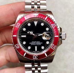 Roter schwarzer armbandring online-40MM Automatik-Jubiläumsarmband Herrenuhren Uhr Rote Lünette Schwarzes Zifferblatt Mit Keramischer Top-Ring Leuchtzeiger und Punktzeiger