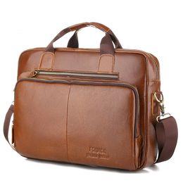 Bolsos de cuero vintage para laptop online-Los hombres de cuero genuino bolso maletín Laptop Messenger Bag Masculino de cuero de vaca de la vendimia de cuero natural bolsas de hombro para hombres bolsa de viaje