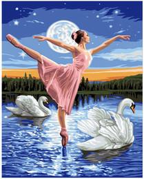 "Pintura a óleo menina dançando on-line-Adulto pintados à mão pintura diy by numbers pintura a óleo kits pintura-cisne lago dancing girl 16 ""x 20"""