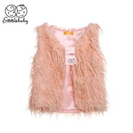 Coleira pele rosa on-line-Criança Crianças Baby Girl Faux Fur Tops Rosa Vest inverno de espessura Brasão Casacos Jacket Colete Idade 1-6 Ano