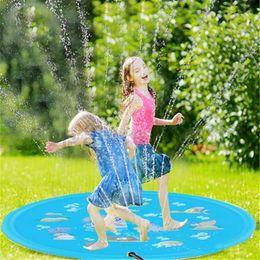 Mattenjunge online-60 '' Sprinkle und Splash Spielmatte Pad, Outdoor Wasserspiel Sprinkler Splash Pad für Kinder Jungen Mädchen Kinder Kleinkinder Sommer Rasen Anti-Skid PV