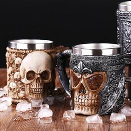 2019 tazza di caffè di drago Boccale di birra in drago in resina in acciaio inossidabile con retro teschio Knight Tankard Halloween Tazza di caffè Realistica Tazza da vichingo Decorazione da bar per pub tazza di caffè di drago economici