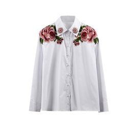22fe635c32794f 2019 Spring Summer New G Heavy Work Embroidered Diamond Retro Loose Niche  Design White Shirt Female Womens Tops and Blouses Size S-L
