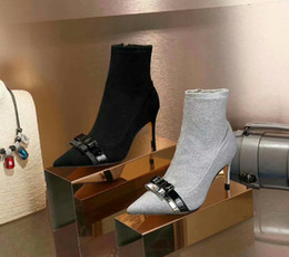 2019 meias de couro 2019 Moda Ocidental Outono Inverno Ankle Boots Mulheres Ovelhas de Couro de Pele de Ovelha Preta de Salto Alto Meias Botas Apontou Toe Sophia Senhoras Sapatos meias de couro barato
