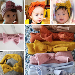 baby bow headwrap Coupons - Winter Warm Girls' Crochet Headband Knitted Bow Ear Warmer Headwrap Solid Color Elastic Hair Band Baby Knitted Bowknot Hairband