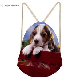 2019 cão impresso mochilas ELVISWORDS Mulheres Pequenas Cordão Mochila Beagle Cães Impresso Saco de Viagem Feminino Meninas Da Escola Satchel Sacos de Praia de Compras Casuais cão impresso mochilas barato