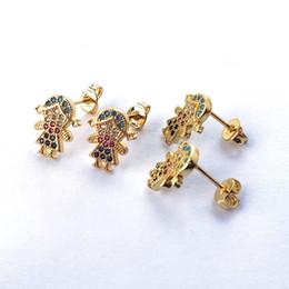orecchini a vite Sconti Orecchini da donna per bambini color oro, orecchini con zirconi cubici arcobaleno Micro Pave Gioielli da donna ER899