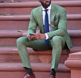 lässige tuxedo styles Rabatt Coole Mode Armee Grün Männer Anzug Attraktive Party Prom Smoking Männer Casual Style Tägliche Arbeitskleidung Anzüge (jacke + Pants + Tie) 2019