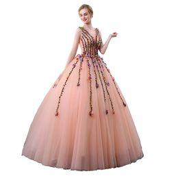 100% reale perline colorate fiore foglia vite ricamo perline abito da ballo corte reale Abito medievale abito rinascimentale Belle sfere vittoriane da bordare l'abito di sfera di ricamo fornitori