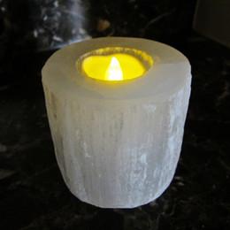 Bougies blanches en Ligne-Naturel Blanc Sélénite Cylindre Bougie Bâton Sculptant Des Pierres Précieuses Méditation Cristal Guérison Cristal Énergie Minérale Livraison Gratuite