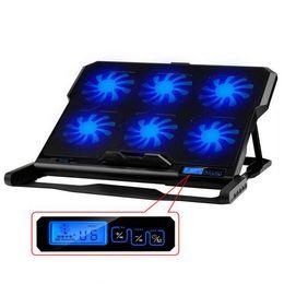 Laptop Cooler 2 Portas USB Almofada De Arrefecimento com Seis Ventiladores de Refrigeração Quieto e Tela Sensível Ao Toque Notebook Stand 5 Ângulos Dispositivo Elétrico para Laptop de
