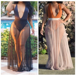 Maiô encobrir saias on-line-2019 nova ver através de praia saias longas mulheres sexy biquíni swimsuit capa ups maiô maiô capa up y19060301