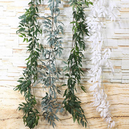 plastic green vines Coupons - Home Wedding Decor Hanging Flowers Rattan Artificial Ivy Leaf Garland Evergreen Vine Plants Fake Green Plants Rattan 1.65M DH0916