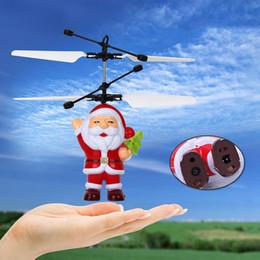 2019 grandes juguetes helicóptero 10 unids Santa Claus Sensor Infrarrojo Eléctrico Flying Ball Padre Navidad Avión Inductivo Helicóptero Volando Juguetes Regalo de Navidad