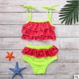 13ddf53ba03 zweiteiliger tankini Rabatt Kinder Baby Mädchen Ruffle Wassermelone  Zweiteiler Badebekleidung Bikini Sommer Baby Kleinkind Mädchen Kinder