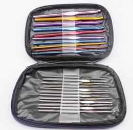 2019 Vendita calda di alta qualità 1 Set 22Pcs Multicolore alluminio Crochet Hook Knitting Kit Aghi Set Weave Craft Yarn Stitches Con borsa da abiti tacchi alti fornitori