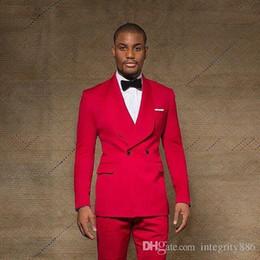 2019 pajarita de tweed harris Slim Fit Red Groom Tuxedos Groomsmen Shawl solapa doble botonadura El mejor hombre se adapta a los trajes de boda para hombre (chaqueta + pantalones + arcos corbata) pajarita de tweed harris baratos