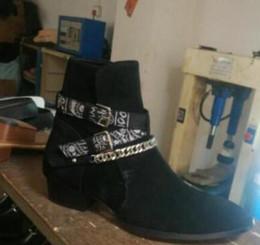 2019 Nuovo arrivo nero marrone mucca pelle scamosciata stivali da uomo di alta qualità caviglie botas catene caviglia scarpe col tacco basso mens da
