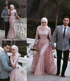 robe de soirée hijab Promotion Robes De Soirée Sexy Sirène Musulman Hijab Dentelle Appliques Élégantes Robes Occasion Spéciale À Manches Longues Arabe Moyen-Orient Robes De Bal