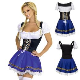 vestidos de diablo negro de halloween Rebajas Oktoberfest Cerveza Traje de las Niñas Adultos Octoberfest Baviera Cerveza Alemana Maid Wench Traje Vestido de Fiesta de Carnaval