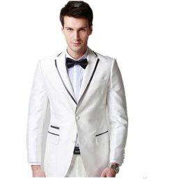 faire des tenues Promotion Costume blanc mariage marié costumes 2 boutons cran revers veste et pantalon ensemble smokings de soirée de bal personnalisé fait garçons d'honneur meilleur costume homme costume