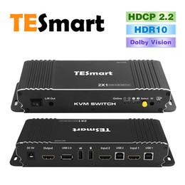 2019 moniteur de sortie vidéo Commutateur KVM HDMI TESmart 2x1 HDMI HDMI @ 60Hz avec 2 câbles KVM de 5 pieds Prend en charge les périphériques USB 2.0 Contrôlez jusqu'à 2 ordinateurs / serveurs / DVR (noir)